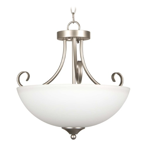 Craftmade Lighting Craftmade Lighting Raleigh Satin Nickel Pendant Light with Bowl / Dome Shade 25333-SN-WG