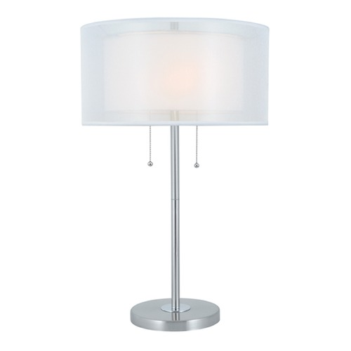 Lite Source Lighting Lite Source Nodin Polished Steel Table Lamp with Drum Shade LS-22626