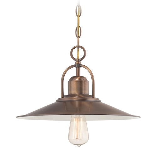 Designers Fountain Lighting Designers Fountain Newbury Station Old Satin Brass Pendant Light with Coolie Shade 85432-OSB