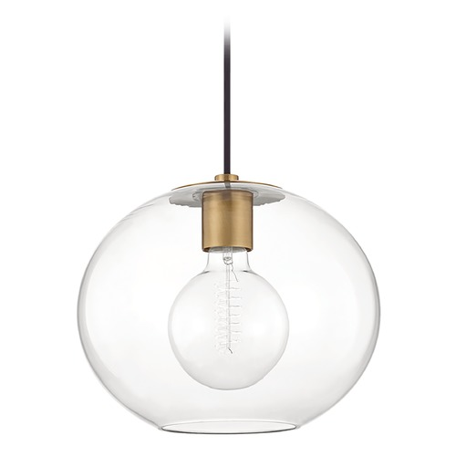 Mitzi by Hudson Valley Mitzi By Hudson Valley Margot Aged Brass Pendant Light with Globe Shade H270701L-AGB