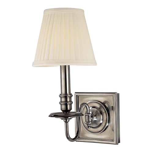 Hudson Valley Lighting Sconce Wall Light with White Shade in Historic Nickel Finish 201-HN