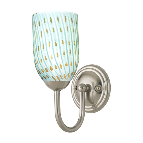 Design Classics Lighting Sconce with Turquoise Art Glass in Satin Nickel Finish 593-09 GL1003D