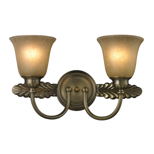 Elk Lighting Bathroom Light with Amber Glass in Antique Brass Finish 11424/2