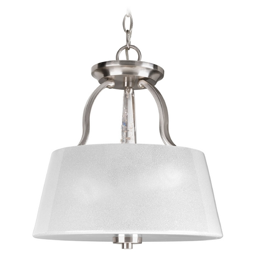 Progress Lighting Progress Lighting Dazzle Brushed Nickel Pendant Light with Drum Shade P3572-09