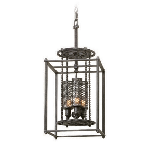 Troy Lighting Troy Lighting Atlas Aged Pewter Pendant Light with Cylindrical Shade F3833