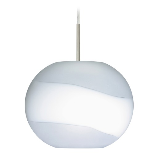 Besa Lighting Besa Lighting Luna Satin Nickel LED Pendant Light with Globe Shade 1JT-477699-LED-SN