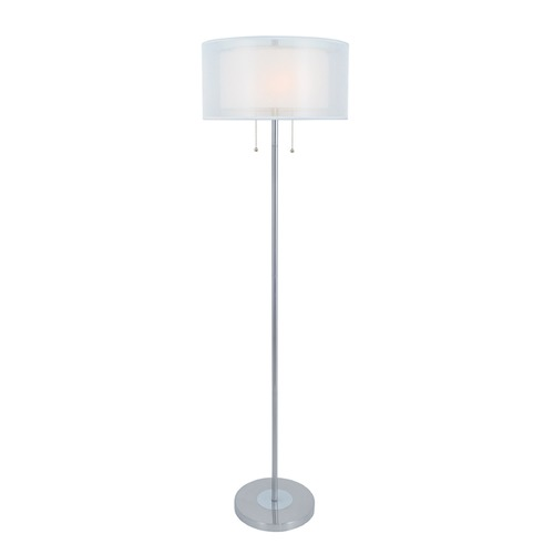 Lite Source Lighting Lite Source Nodin Polished Steel Floor Lamp with Drum Shade LS-82626