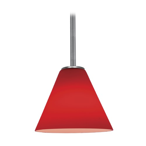 Access Lighting Access Lighting Martini Brushed Steel LED Mini-Pendant Light with Conical Shade 28004-3R-BS/RED