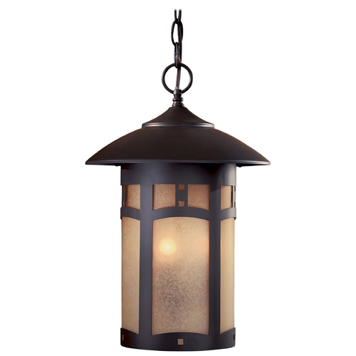 Minka Lavery Outdoor Hanging Light with Beige / Cream Glass in Dorian Bronze Finish 8724-A615B