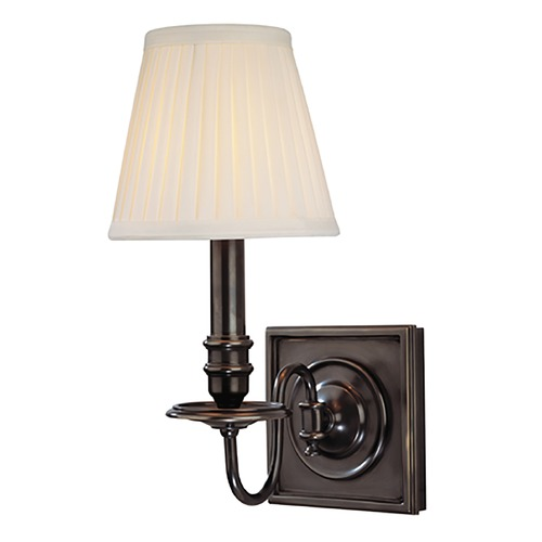 Hudson Valley Lighting Sconce Wall Light with White Shade in Old Bronze Finish 201-OB