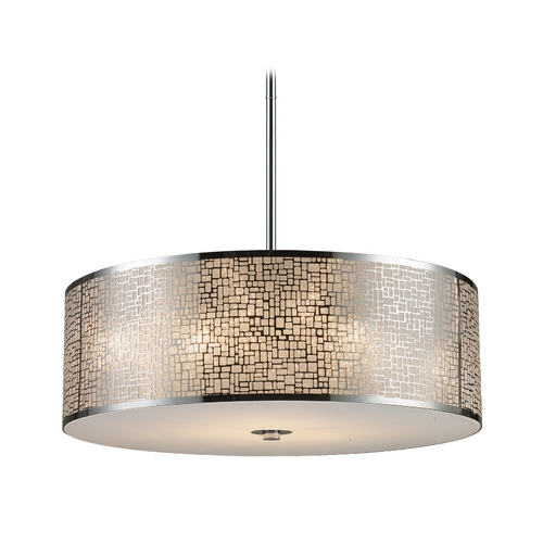 Elk Lighting Modern Drum Pendant Light with White Glass in Polished Stainless Steel Finish 31043/5