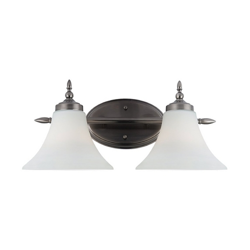Sea Gull Lighting Bathroom Light with White Glass in Antique Brushed Nickel Finish 41181-965