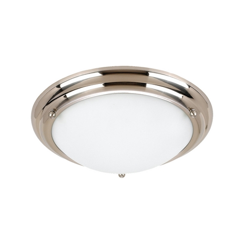 Sea Gull Lighting Flushmount Light with White Glass in Brushed Stainless Finish 77087-98