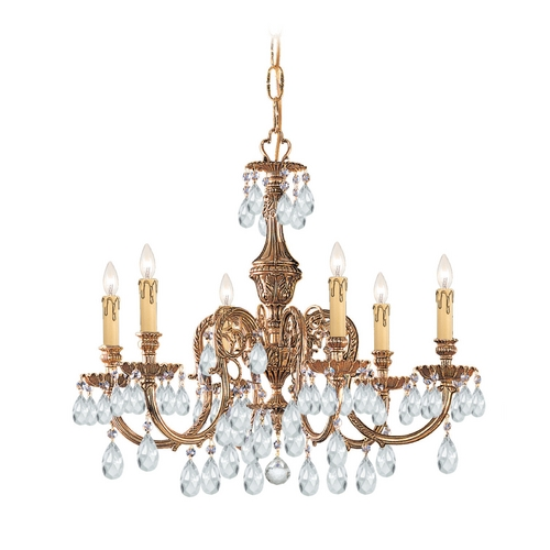 Crystorama Lighting Crystal Chandelier in Olde Brass Finish 2906-OB-CL-MWP