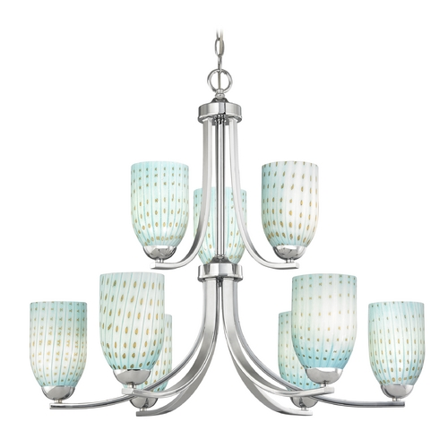 Design Classics Lighting Modern Chandelier in Polished Chrome Finish 586-26 GL1003D