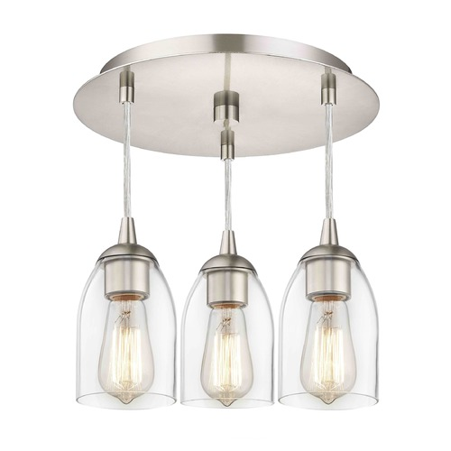 Design Classics Lighting 3-Light Semi-Flush Ceiling Light with Clear Dome Glass - Nickel Finish 579-09 GL1040D