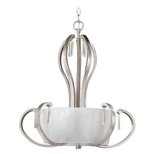 Progress Lighting Progress Lighting Dazzle Brushed Nickel Pendant Light with Drum Shade P3574-09