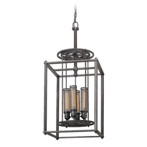 Troy Lighting Troy Lighting Atlas Aged Pewter Pendant Light with Cylindrical Shade F3834