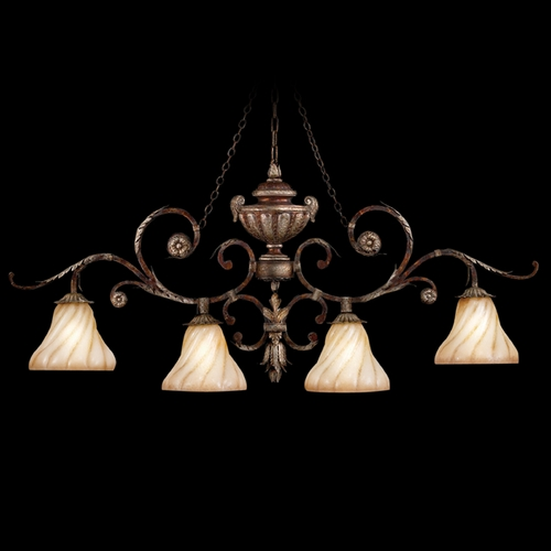 Fine Art Lamps Fine Art Lamps Stile Bellagio Tortoised Leather Crackle with Stained Silver Leaf Accents Island Ligh 302240ST
