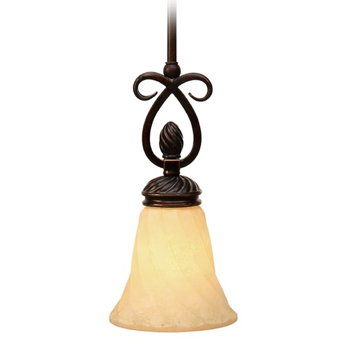 Golden Lighting Golden Lighting Torbellino Cordoban Bronze Mini-Pendant Light with Bell Shade 8106-M1L CDB