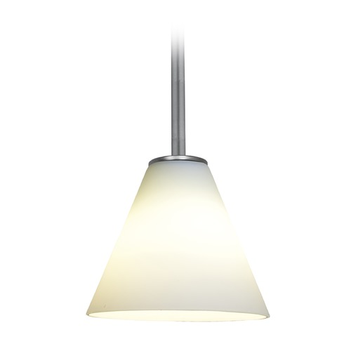 Access Lighting Access Lighting Martini Brushed Steel LED Mini-Pendant Light with Conical Shade 28004-3R-BS/WHT