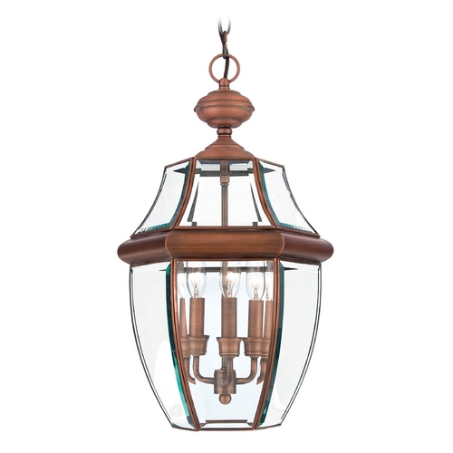 Quoizel Lighting Outdoor Hanging Light with Clear Glass in Antique Brass Finish NY1179A