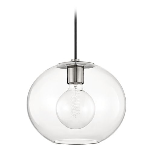 Mitzi by Hudson Valley Mitzi By Hudson Valley Margot Polished Nickel Pendant Light with Globe Shade H270701L-PN
