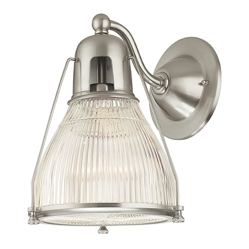 Hudson Valley Lighting Modern Sconce Wall Light with Clear Glass in Satin Nickel Finish 7301-SN