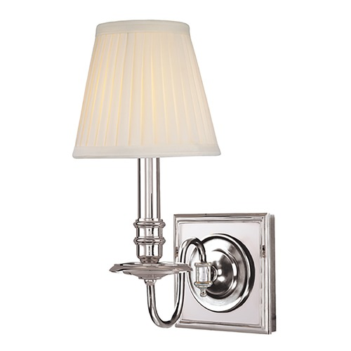 Hudson Valley Lighting Sconce Wall Light with White Shade in Polished Nickel Finish 201-PN