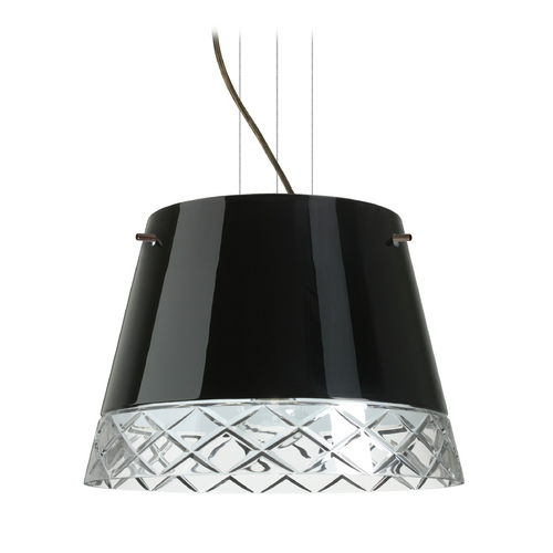 Besa Lighting Modern Drum Pendant Light with Black Glass in Bronze Finish 1KV-4340BC-BR