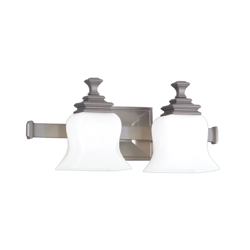Hudson Valley Lighting Bathroom Light with White Glass in Satin Nickel Finish 5502-SN