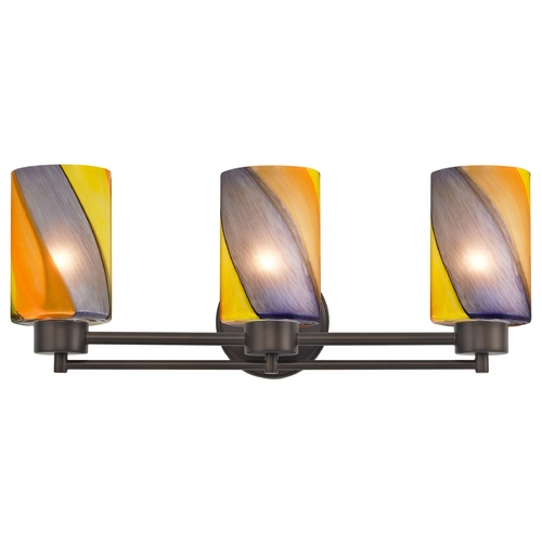 Design Classics Lighting Modern Bathroom Light with Art Glass in Bronze Finish 703-220 GL1015C