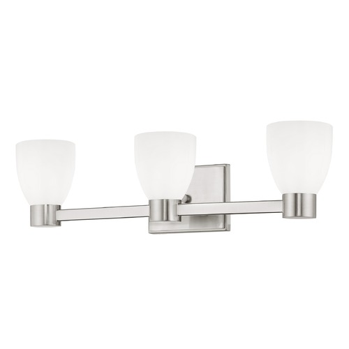 Design Classics Lighting 3-Light White Glass Bathroom Vanity Light Satin Nickel 2103-09 GL1028MB