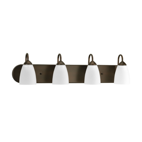 Progress Lighting Progress Bathroom Light with White Glass in Antique Bronze Finish P2709-20EBWB