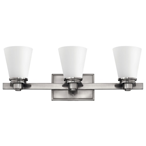 Hinkley Lighting Bathroom Light with White Glass in Brushed Nickel Finish 5553BN