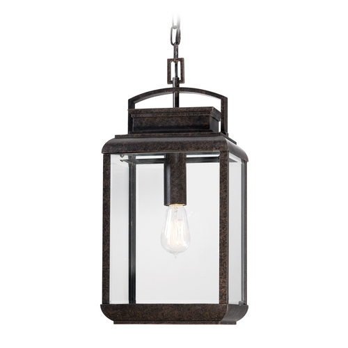 Quoizel Lighting Outdoor Hanging Light with Clear Glass in Imperial Bronze Finish BRN1910IB