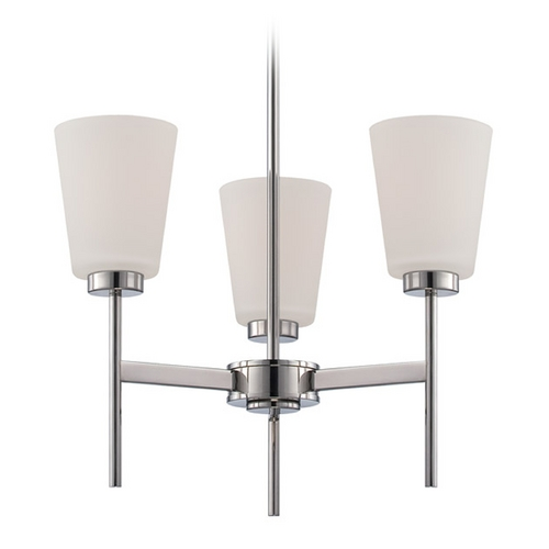 Nuvo Lighting Modern Chandelier with White Glass in Polished Nickel Finish 60/5215
