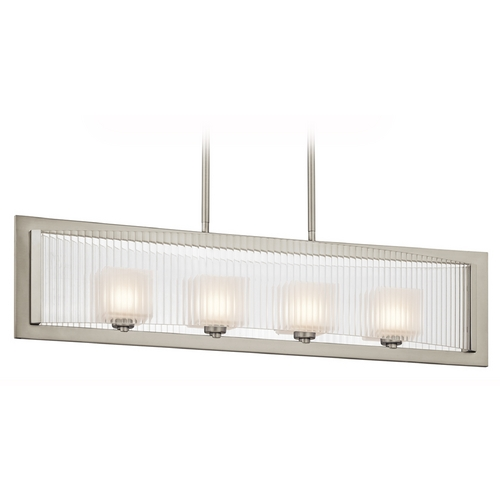 Kichler Lighting Kichler Modern Island Light with White Glass in Brushed Nickel Finish 43142NI