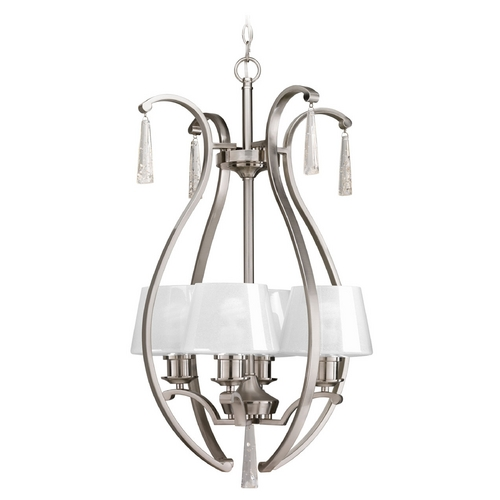 Progress Lighting Progress Lighting Dazzle Brushed Nickel Pendant Light with Empire Shade P3576-09