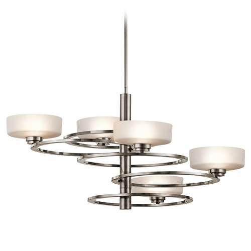 Kichler Lighting Mid-Century Modern Pendant Light Pewter Aleeka by Kichler Lighting 43365CLP