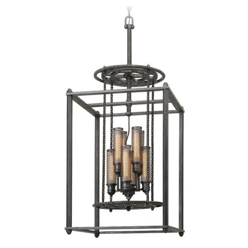 Troy Lighting Troy Lighting Atlas Aged Pewter Pendant Light with Cylindrical Shade F3838