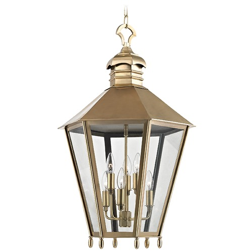 Hudson Valley Lighting Barstow 6 Light Pendant Light Hexagon Shade - Aged Brass 8819-AGB