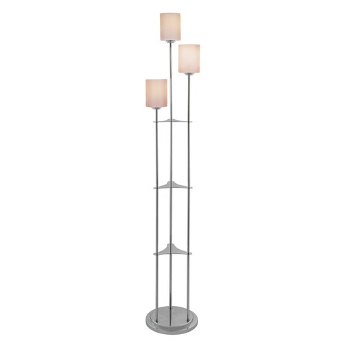 Lite Source Lighting Lite Source Bess Brushed Nickel Floor Lamp with Cylindrical Shade LS-80700BN
