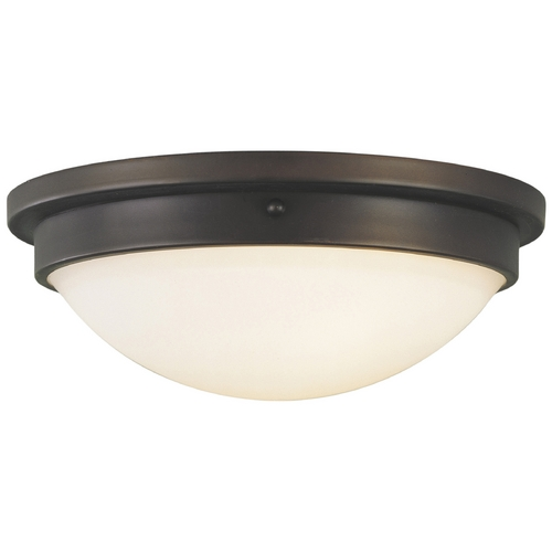 Feiss Lighting Modern Flushmount Light with White Glass in Oil Rubbed Bronze Finish FM228ORB