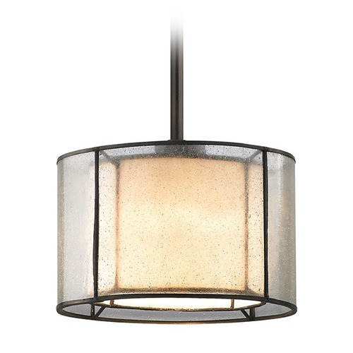 Elk Lighting Seeded Glass Drum Mini-Pendant Light Bronze Elk Lighting 70224/1