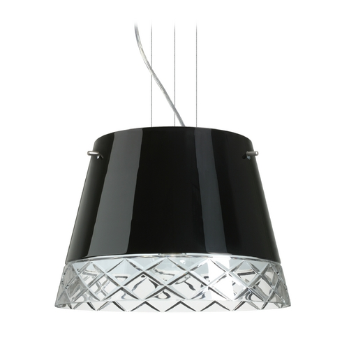 Besa Lighting Modern Drum Pendant Light with Black Glass in Satin Nickel Finish 1KV-4340BC-SN