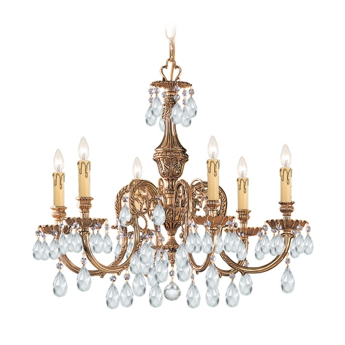 Crystorama Lighting Crystal Chandelier in Olde Brass Finish 2906-OB-CL-SAQ