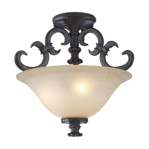 PLC Lighting Modern Semi-Flushmount Light with Amber Glass in Oil Rubbed Bronze Finish 15250 ORB