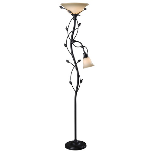 Kenroy Home Lighting Torchiere Lamp with Amber Glass in Oil Rubbed Bronze Finish 32241ORB