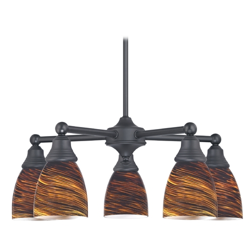 Design Classics Lighting Chandelier with Brown Art Glass in Matte Black Finish 597-07 GL1023MB